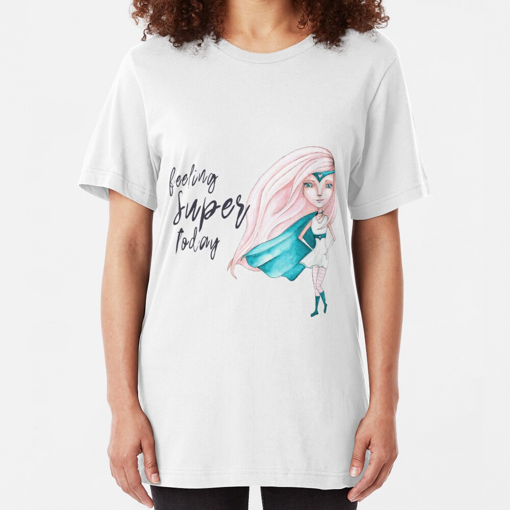 Feeling Super Today - Peach & Teal Version Slim Fit T-Shirt