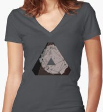 Abstract Geometry: Metallic City (Brown/Gold) Women's Fitted V-Neck T-Shirt