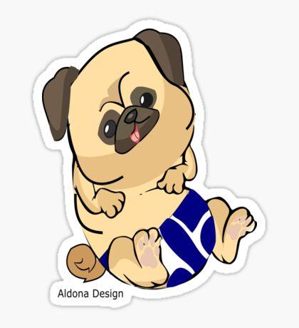 Pug in blue Sticker