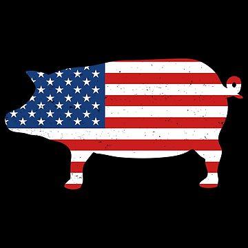Pig American Flag by teesaurus