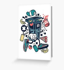 Garbage Can Cartoon Character Greeting Card