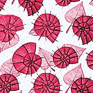 Pink Snails And Leaves Ink Drawn Pattern by Boriana Giormova