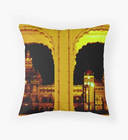 Mysore Palace at night Throw Pillow