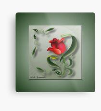 D1G1TAL-M00DZ ~ FOLKART ~ Red Tulip by tasmanianartist Metal Print