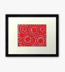 Mclaney Abstract Expression Red White Framed Print