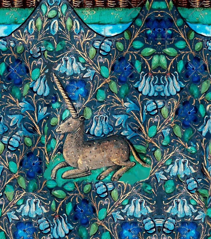 Unicorn among blue flowers aqua blue green white medieval floral unicorn among blue flowers aqua blue green white medieval floral motifs by bulganlumini izmirmasajfo