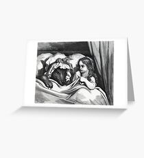 Little Red Riding Hood And The Big Bad Wolf. Greeting Card