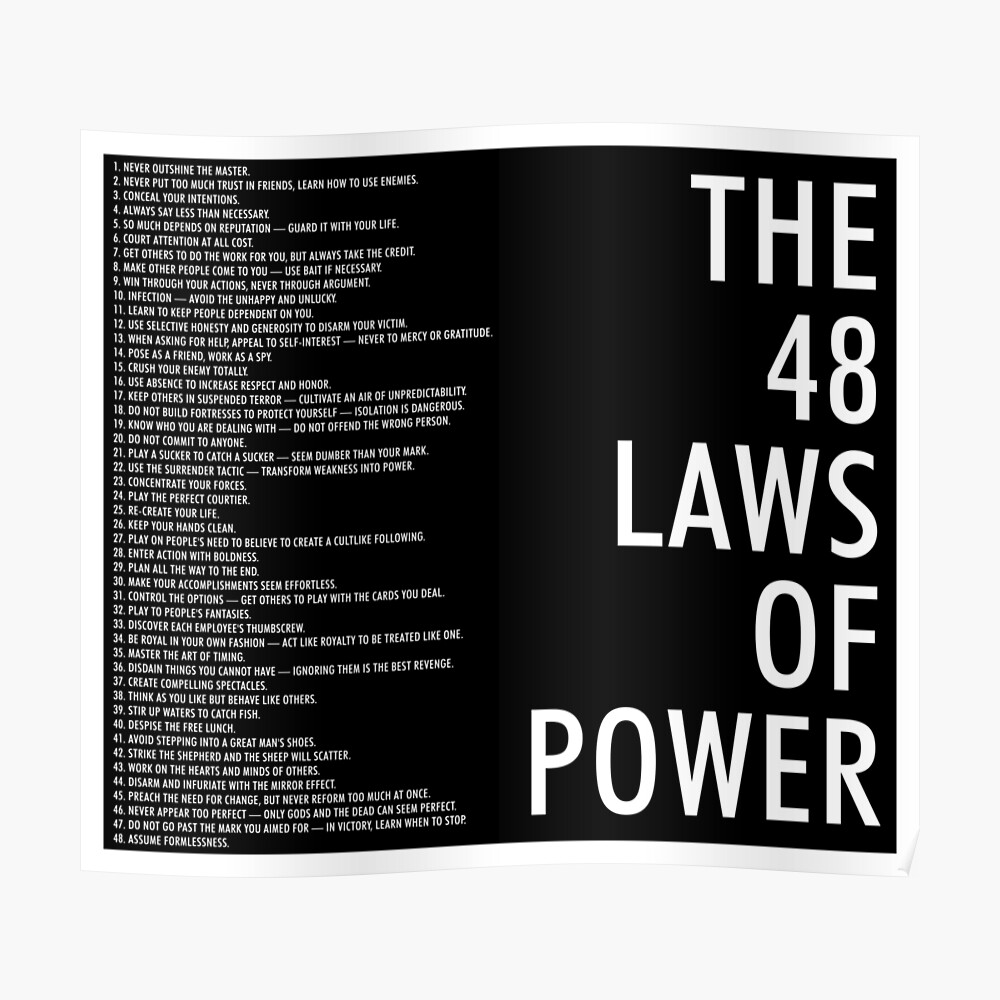 die 48 Gesetze des Machtschwarzen Plakats Poster