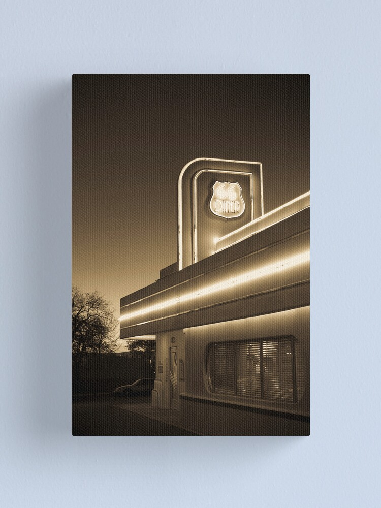 Alternate view of USA. New Mexico. Albuquerque. Route 66 Diner. Canvas Print