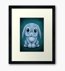 Cute Blue Baby Bunny Rabbit  Framed Print