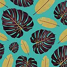 Tropical Flower Pattern Blue by lambsandwolves