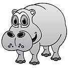 Hippo Grey Cartoon by Graphxpro