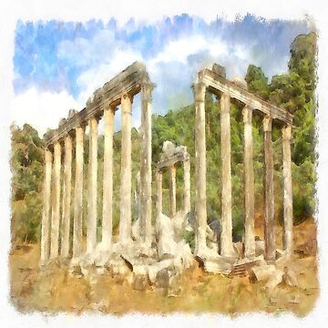 Euromos Roman Ruins Watercolor Painting by taiche