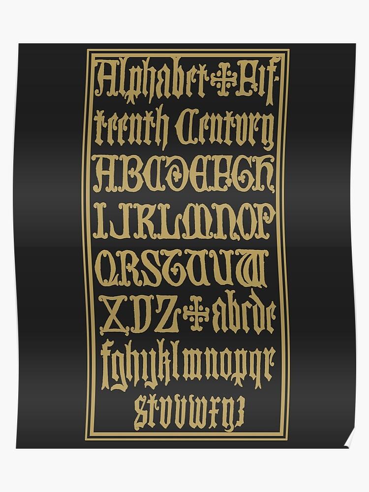 Antique Old English Alphabet Gothic Font Language Medieval Letters | Poster