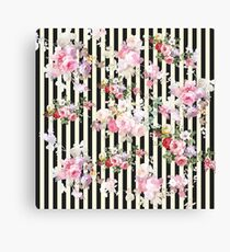 Vintage pink floral black yellow stripes pattern Canvas Print