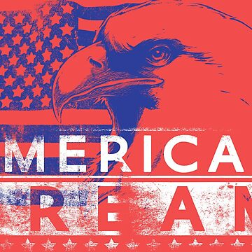 Patriotic American Dream - Bald Eagle And American Flag - Red White And Blue American Pride by calikays