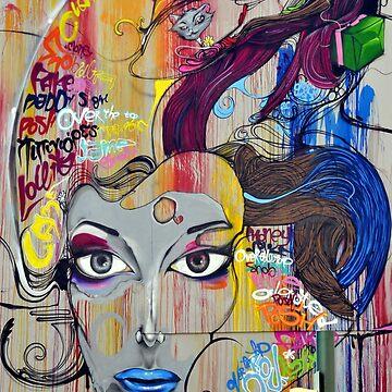 Graffiti mural woman face by alabafruit