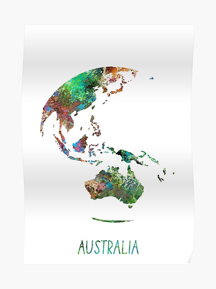 Australia Map Globe.Australia Globe Australia Earth Print Globe Australia Map Watercolor Australia Watercolor Globe Poster