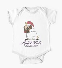 Awesome since 2001 - Funny Unicorn Pug Gift Baby Body Kurzarm