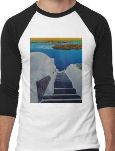 Upstairs Downstairs to Santorini Caldera Men's Baseball ¾ T-Shirt
