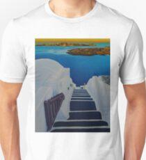 Upstairs Downstairs to Santorini Caldera T-Shirt