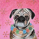 Pug In Flower Garland by BeaRobertsArt