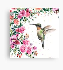 Hummingbird and Flowers Watercolor Canvas Print