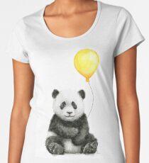 Camiseta premium para mujer Baby Panda con globo amarillo Whimsical Acuarela Animal