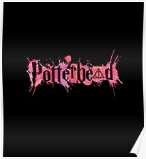 Potterheads and hp hallows with splashes outline (pink watercolors true) - wand, cloak, stone Poster