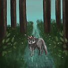 Flower Crown Adorned Wolf in the Woods by C O R I N N A .  R E N