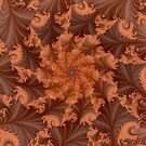 Brown and Orange Flower and Leaf Pattern by Sue Smith