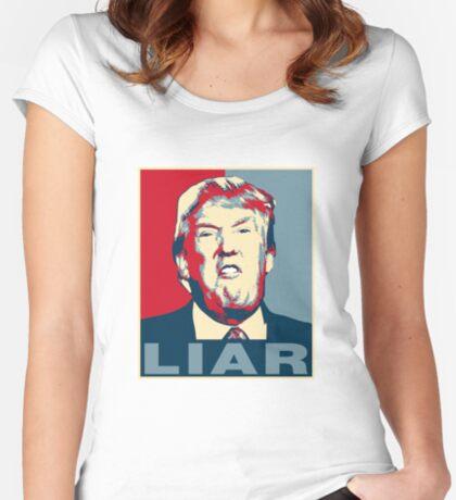 Trump Liar Poster T-shirt Women's Fitted Scoop T-Shirt