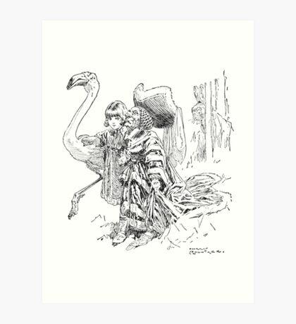 Duchess and Flamingo Art Print