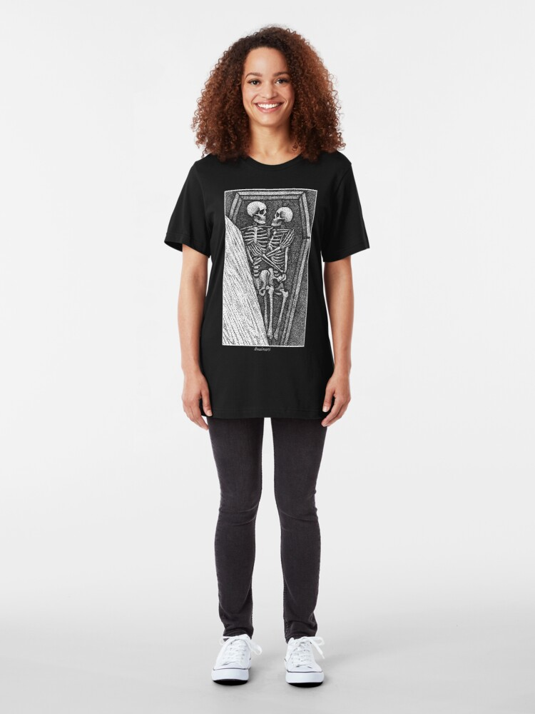 Alternate view of Toujours - Skeleton Lovers Pointilism Slim Fit T-Shirt