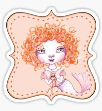 Just a Baby Mermaid and Her Merkitty - Red-Head Version Sticker