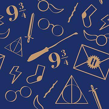 Magical Pattern - Blue & Bronze by nerdfelt