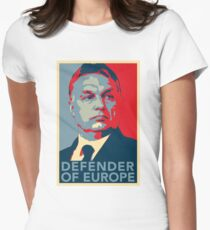 Viktor Orbán Orban HOPE Defender of Europe Hungarian Prime Minister Hungary Flag Deus Vult Build the wall HD HIGH QUALITY ONLINE STORE Fitted T-Shirt