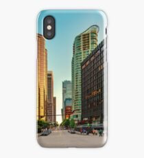 Street in downtown of Vancouver with mirror skyscrapers in a golden hour iPhone Case