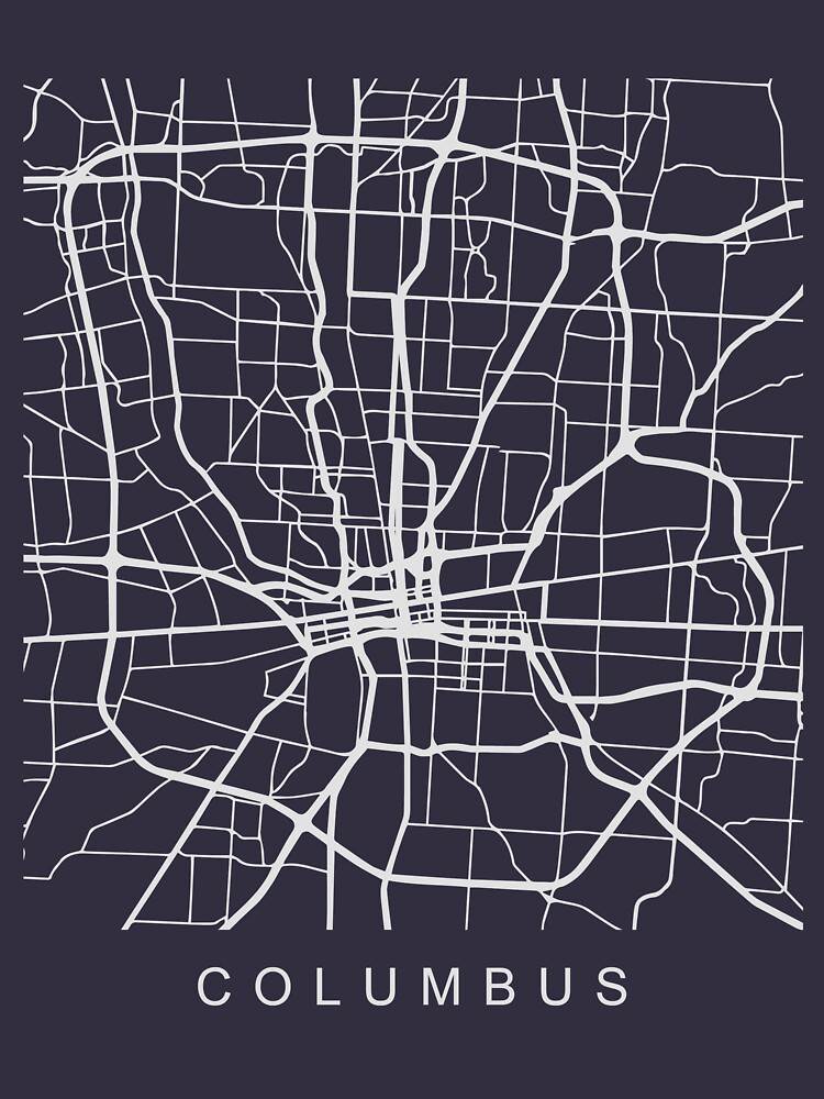 Columbus OH Minimalist City Street Map Light Design by Andrewkgolf