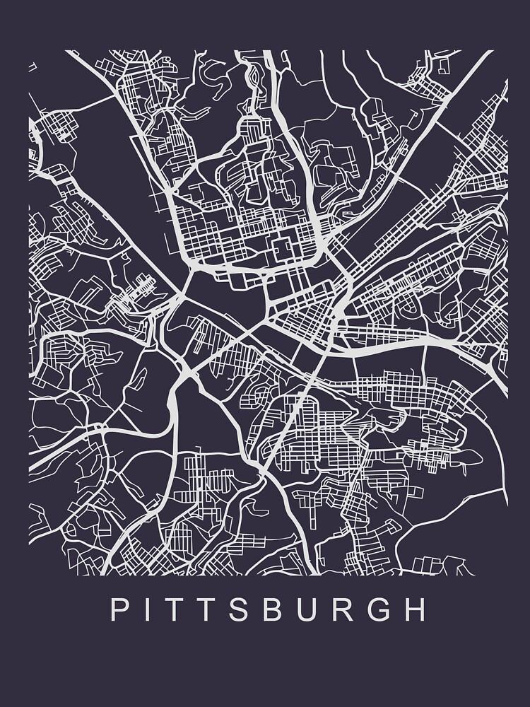 Pittsburgh PA Minimalist City Street Map Light Design by Andrewkgolf