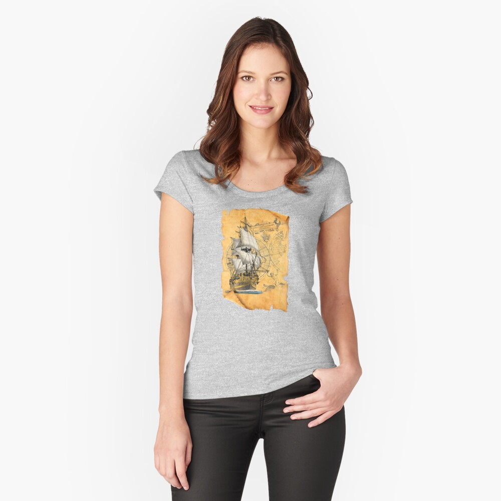 sailing ship Women's Fitted Scoop T-Shirt Front