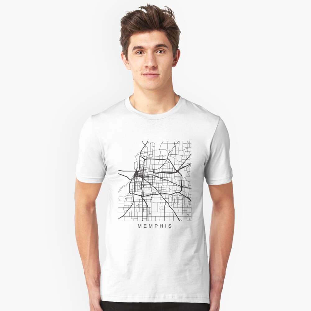Memphis Minimalist City Street Map Dark Design Unisex T-Shirt Front