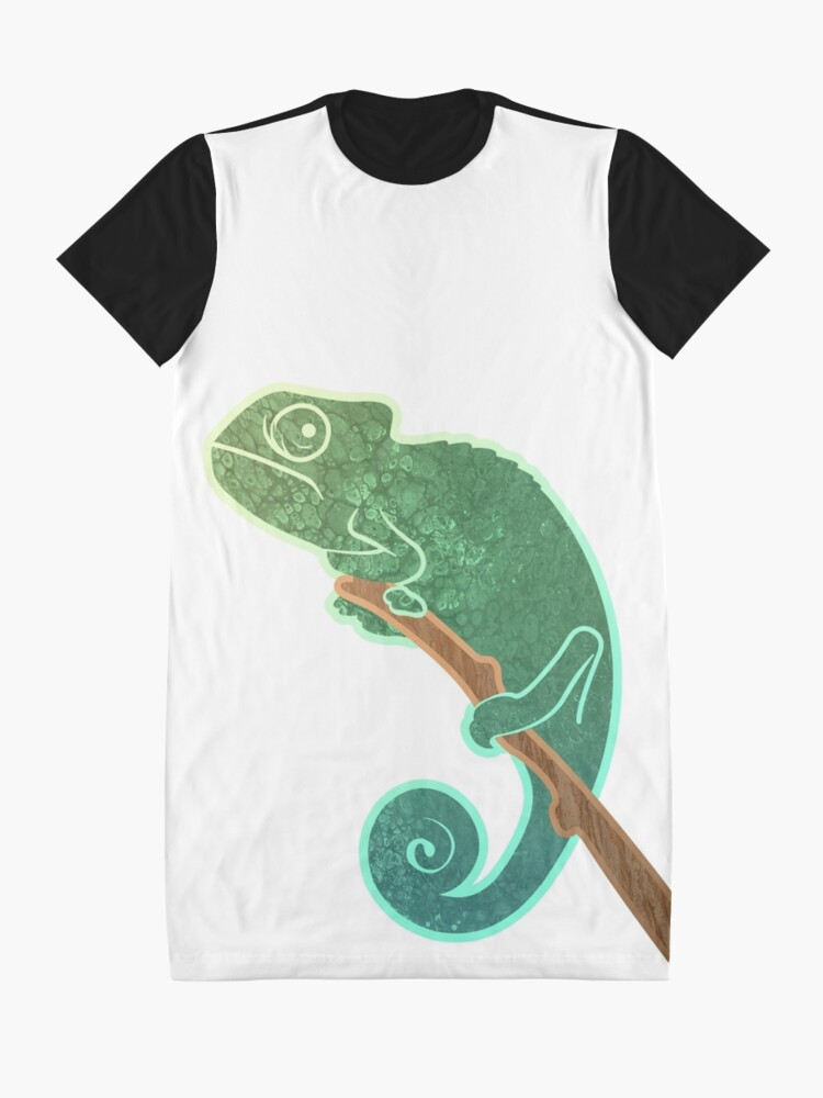 Alternate view of The Ever Watchful Chameleon Graphic T-Shirt Dress