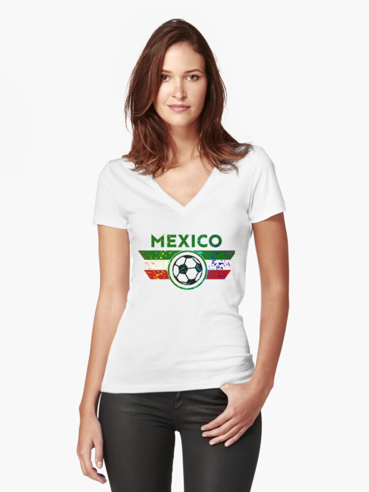 Mexico Jersey Shirt Soccer Futbol Paint Splatter Women s Fitted V-Neck T- Shirt Front 023caa652