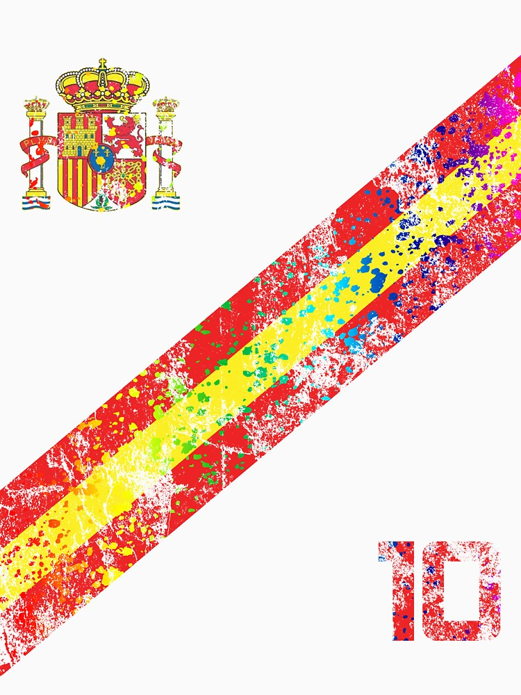 Spain Soccer Jersey Shirt Vintage Paint Splatter by 7United