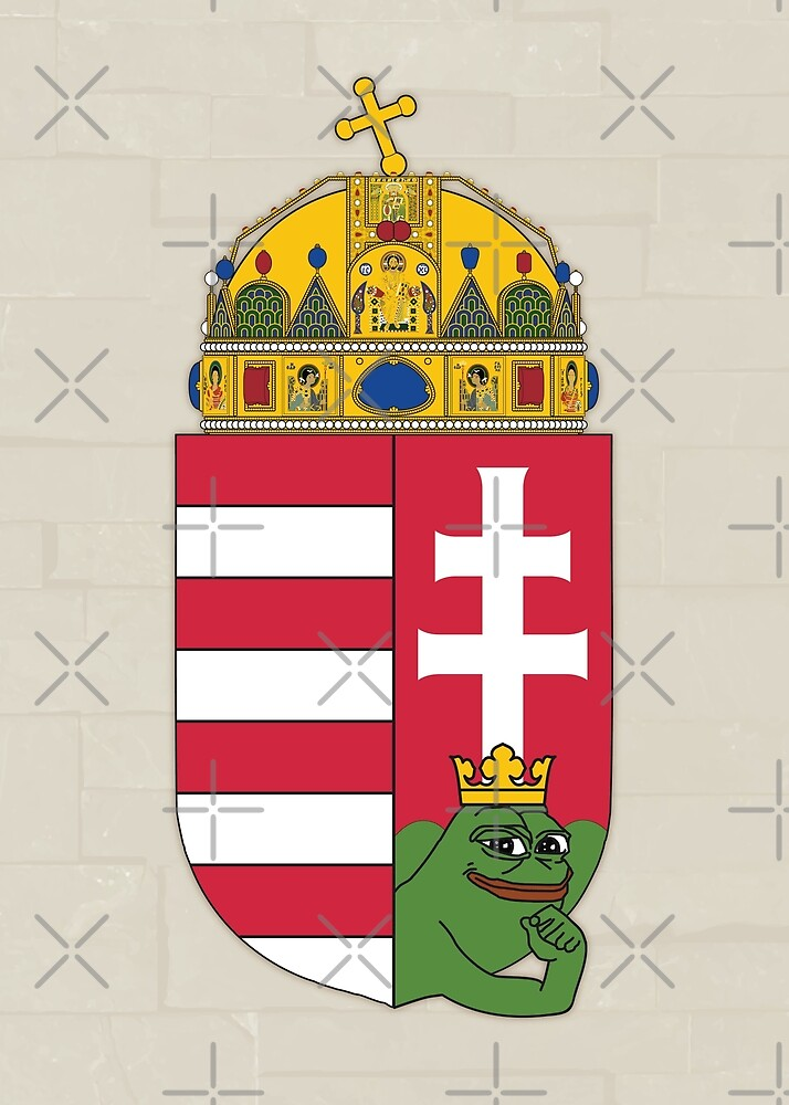 Pepe the frog memes Hungary Hungarian Magyar coat of arm Heraldry crown vintage crusader Praise KEK prophesy HD HIGH QUALITY ONLINE STORE by iresist
