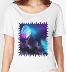 Pandora Silver Bengal Kitty Cat of the Moonlit Night Women's Relaxed Fit T-Shirt