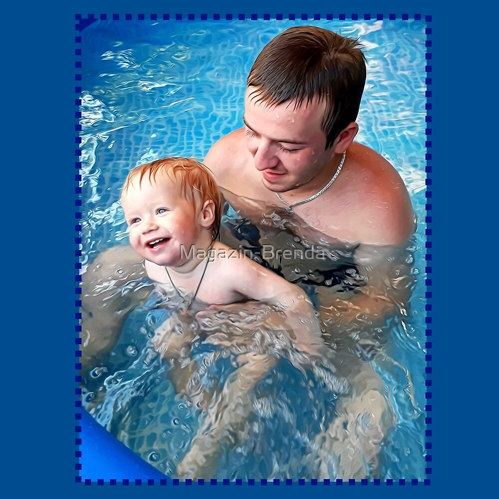 Father and son in the children's pool by Magazin-Brenda