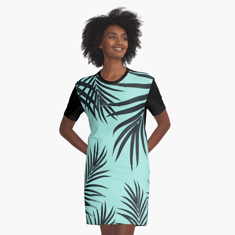Palm Leaves Pattern Summer Vibes #7 #tropical #decor #art  Graphic T-Shirt Dress Front