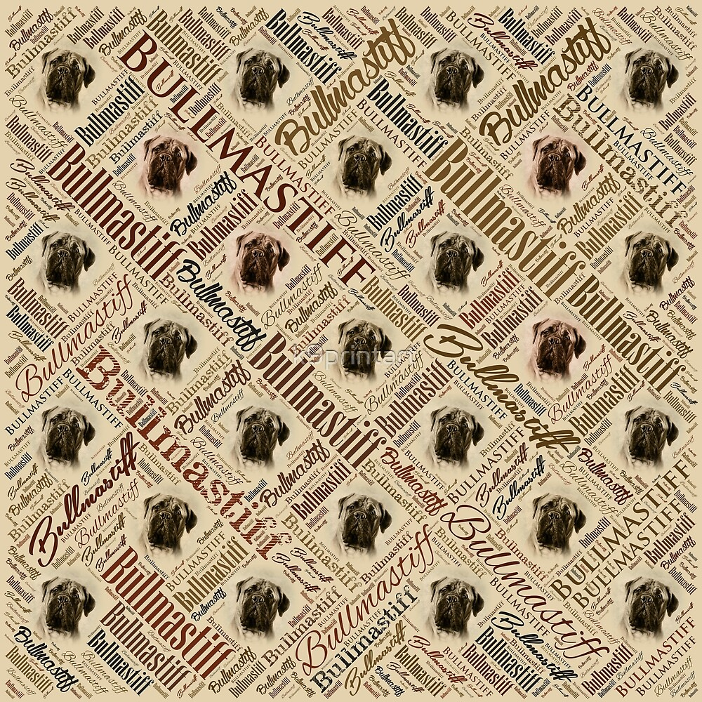 Bullmastiff Word Art by k9printart